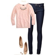 Beige & Pink: love the delicate necklace and sweater, moves nicely from winter to spring. Could wear with black pencil skirt to work too Fall Outfits, Casual Outfits, Cute Outfits, Fashion Outfits, Womens Fashion, Look Chic, Look Casual, Casual Chic, Casual Dressy