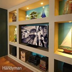 Construct a dramatic built-in bookcase and entertainment center with these simple plans. All you need is some inexpensive lumber and drywall.