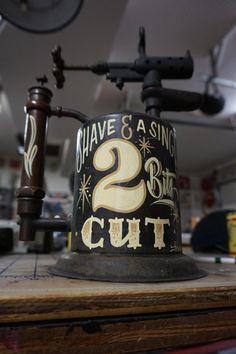 Hand painted Garage Art Shave & a Singe torch by Lumpysgarage