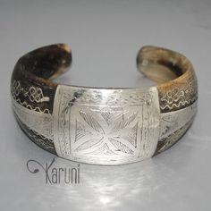 Bracelet ethnique corne claire et argent large - Mauritanie
