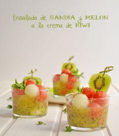 #DimequeesViernes.: Ensalada de Sandia y Melon a la crema de Kiwi