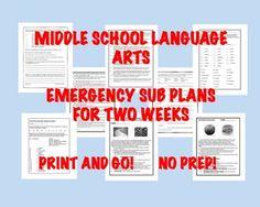 "Middle School ELA ""No-Prep"" Printables: Emergency Sub Plan"