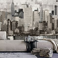 "55"" x 35""-Custom Sizing-Metropolis Wallpaper Vintage Retro City Architecture Wall Mural Black & White"