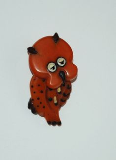 """Very Rare Martha Sleeper Owl pin. Great Piece. Moveable head and fine detail. 2"""" long with martha's signature leather ears."""