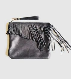 Adelina Pequena Fringe Leather Clutch by Diane Serra Handmade on Scoutmob Shoppe