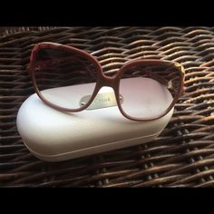 Chloe Oversized Sunglasses Not sold in stores. Specs:  distance between lenses 17mm, temple size 120 mm, frame mauve, lens color gradient brown, plastic frame.  Will come in original case. Only worn once or twice--too big for my face frame but so beautiful!!  Love the detail in the sides (gold color) Chloe Accessories Sunglasses