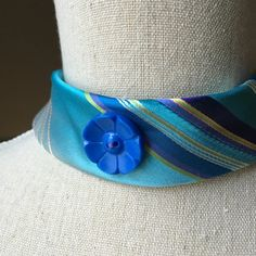 Blue Necktie Upcycled Choker Turquoise Necklace Statement