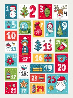 Colorful Advent calendar, Illustration with decorations and numerals, Christmas theme. Christmas Calendar, Christmas Stickers, Christmas Countdown, Christmas Printables, Christmas Themes, Kids Christmas, Handmade Christmas, Holiday Crafts, Christmas Decorations