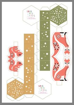 cute fox cut out Christmas Paper, Christmas Love, Xmas, Diy Paper, Paper Art, Paper Crafts, Christmas Templates, Christmas Printables, Christmas Activities
