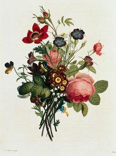 Jean Louis Prevost, bouquet di rose , mughetto e anemoni e violette (1790-1810)