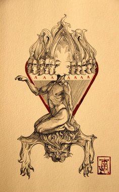 Ritual Circle — Jose Gabriel Alegría Sabogal - The Observer. Arte Horror, Horror Art, Satanic Art, Esoteric Art, Dark Art Drawings, Occult Art, Dark Tattoo, Gravure, Ancient Art