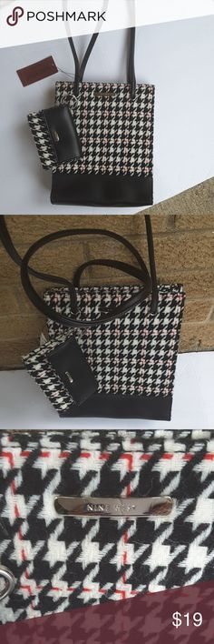 🏆🎈POSH PICK 🎈🏆Houndstooth purse Nine West houndstooth purse w/ long handles.  Comes with wallet.  NWT.  Black and white w/ red details. Nine West Bags