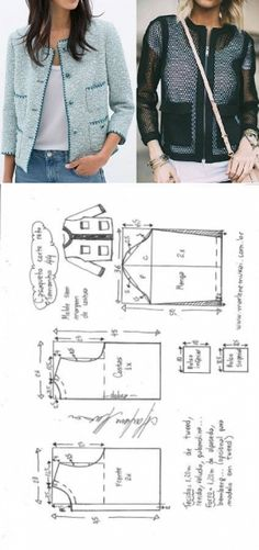 Chaqueta tipo Chanel Bricolage moulé corte e costura Marlene Mukai – Les Tendances Coat Patterns, Dress Sewing Patterns, Clothing Patterns, Skirt Patterns, Blouse Patterns, Make Your Own Clothes, Diy Clothes, Barbie Clothes, Ladies Clothes