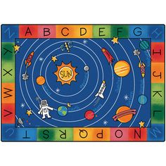 Blast off to a galaxy of fun and learning on the Milky Play Literacy Classroom Rug! This colorful Space themed area rug has an alphabet border that surrounds a picture of the Milky Way Galaxy. It feat Carpets For Kids, Kids Rugs, Classroom Carpets, Space Classroom, Classroom Ideas, Classroom Organization, Classroom Setting, Future Classroom, Dwarf Planet