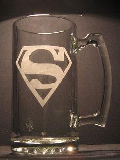 Superman logo beer mug  PICK YOUR GLASS by WastedTalentDesigns, $12.00