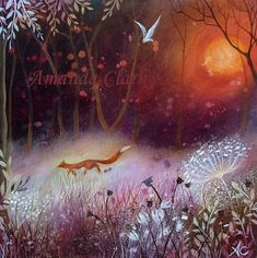By the red Moon  -  Amanda Clark- art gallery, original paintings