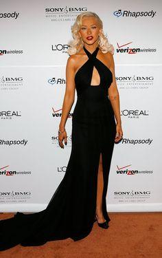 Christina Aguilera Black Halter Evening Dress Clive Davis Pre-Grammy Party