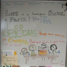One of my shining new sixth graders--Natalie--came up with this metaphor about life and pasta.  I love it!
