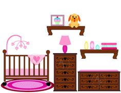 Baby Girl Nursery Crib Changing Table Digital Clip Art Set, Clipart Personal And…