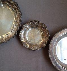 Tarnished Silver Bowls, Set of Three (3) Vintage Silver Plate Bowls, Towle Silver Bowl, EPC Silver Bowl, Food Photo Prop, Old Silver Bowls