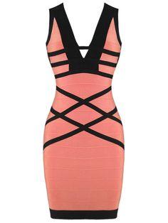 Sexy V Neck Black and Pink Bandage Dress . Shop now at : http://misscircle.com/Dresses/Bandage-Dress/Sexy-Cut/Sexy-V-Neck-Black-and-Pink-Bandage-Dress.html
