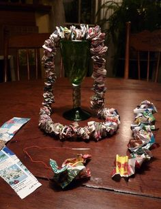 Recycled Lei...next time I have a Hawaiian-themed party, I'm totally doing this!