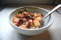 Steel-Cut Oatmeal with Sweet Apple & Walnut Topping    Breakfast option?