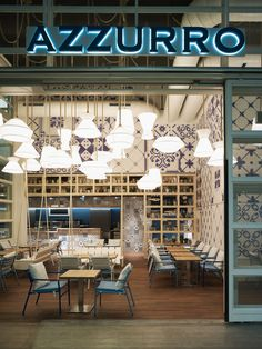 Interior design office Baarn Azzurro restaurant in Zurich by Andrin Schweizer Company lighting.