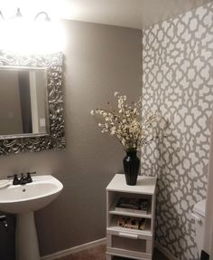 Zamira #Stenciled bathroom using Cutting Edge Stencils... I want to do this in the guest bathroom except with navy..