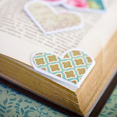Tutorial for making heart shaped paper page markers for Valentines Day.