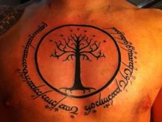 Tolkien tattoo. Love the Tree of Gondor, less thrilled about having the script of evil on my skin