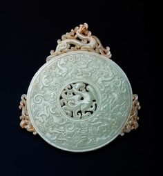A Rare Ancient Chinese Eastern Zhou Dynasty Jade And Bronze Pendant, ca. 1050 B. Ancient China, Ancient Art, Collections D'objets, Le Jade, Zhou Dynasty, Art Asiatique, Antique Jade, China Art, Jade Jewelry
