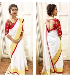 Vithya kerala saree look. Indian Designer Sarees, Indian Designer Wear, Bridal Blouse Designs, Saree Blouse Designs, Onam Saree, Handloom Saree, Silk Sarees, Kerala Traditional Saree, Kerala Saree Blouse