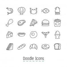 Iconos del alimento del doodle. Vector Gratis