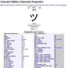 Unicode Utilities: Character Properties