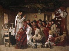 "Irish Catholics attending a ""house Mass"" in the midst of English persecution. Mass in a Connemara Cabin.  Aloysius O'Kelly (3 July 1853 – c.1941), Irish painter."