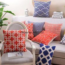 L'europe canapé à carreaux coussin couvre, Oriental géométrique coton lin…