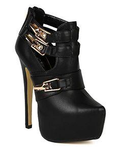 Wild Rose Women Leatherette Almond Toe Platform Strappy Stiletto Heel Ankle Bootie - Black (Size: - Boots for women (*Amaz… in 2020 Cute High Heels, Cute Shoes, Stiletto Heels, Shoes Heels, Pumps, High Heel Boots, Heeled Boots, Ankle Booties, Bootie Boots