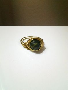 Dark Sage and Gold Swirl w/ Gold Tine Wire Wrapped Ring @ facebook.com/deepsouldzine, $10