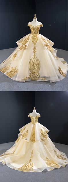 Vintage Off the Shoulder Quinceanera Dresses Gold Sequin Prom Dress : Baroque gold vintage ball gown prom dresses. Vintage Prom, Vintage Ball Gowns, Vintage Dresses, Vintage Hats, Debut Gowns, Debut Dresses, Sweet 15 Dresses, Pretty Dresses, Beautiful Dresses