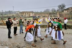 One of the many popular groups (Pauliteiros de Miranda) that practice an ancient warrior Iberian dance. Traditional Winter festivities in Constantim. Trás-os-Montes, Portugal