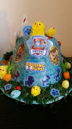 Paw patrol again Easter Bonnets, Easter Party, Paw Patrol, Pup, Christmas Ornaments, Holiday Decor, Boys, Crafts, Ideas