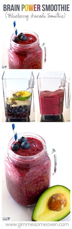 Healthy Smoothies Recipe BRAIN POWER SMOOTHIE (Blueberry Avocado Smoothie) - try using fresh pomegranate instead of juice. - This Brain Power Smoothie (Blueberry Avocado Smoothie) is packed with delicious ingredients that are all great for brain health. Blueberry Avocado Smoothie, Smoothie Fruit, Detox Smoothies, Smoothie Drinks, Healthy Smoothies, Healthy Drinks, Healthy Snacks, Healthy Eating, Healthy Detox