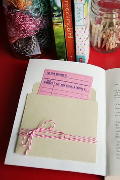 Create a pouch on a book your giving and leave a hand written note - bookmark- for the receiver.