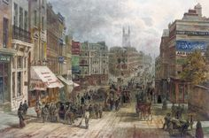 Snow Hill, Holborn, London in 19th century. Image from http://upload.wikimedia.org/wikipedia/commons/2/2a/English_School,_19th_Century,_Snow_Hill,_Holburn,_London.jpg.