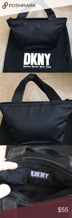 """DKNY BLACK EVENING BAG Black DKNY BAG. WITH LEATHER HANDLES ON ONE SIDE.  PREVIOUSLY OWNED IN EXCELLENT CONDITION MEASURES 101/2 by 6 by 3"""" PERFECT EVENIG BAG BUT GREAT FOR DAY AS WELL.   Comes with dust cover DKNY Bags Mini Bags"""