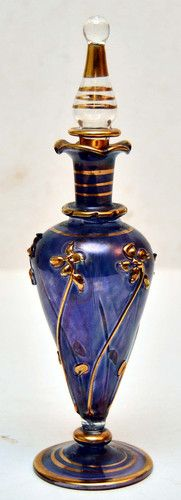 "Antique Vintage Perfume Bottle with Dapper 7 3 4"" Tall Blue with Gold Flowers 