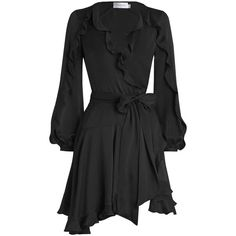 ZIMMERMANN Winsome Flutter Robe Dress (€415) ❤ liked on Polyvore featuring dresses, wrap dress, blouson sleeve dress, flutter-sleeve dress, frilly dresses and frill dress