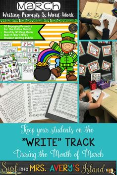 March writing prompts to keep your creative writers writing, and YOU, the teacher, never scrambling for another story starter again!  Click here to download creative journal topic ideas and stock your literacy center with these no prep March printables your kids will love.  Perfect for March morning work, Daily 5 Work on Writing, creative writing lessons, inside recess activities, substitute teacher activities, Work on Words, fast finisher activities, and so much more!