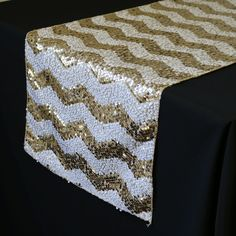 14 x 108 inch Chevron Sequin Table Runners White and Champagne